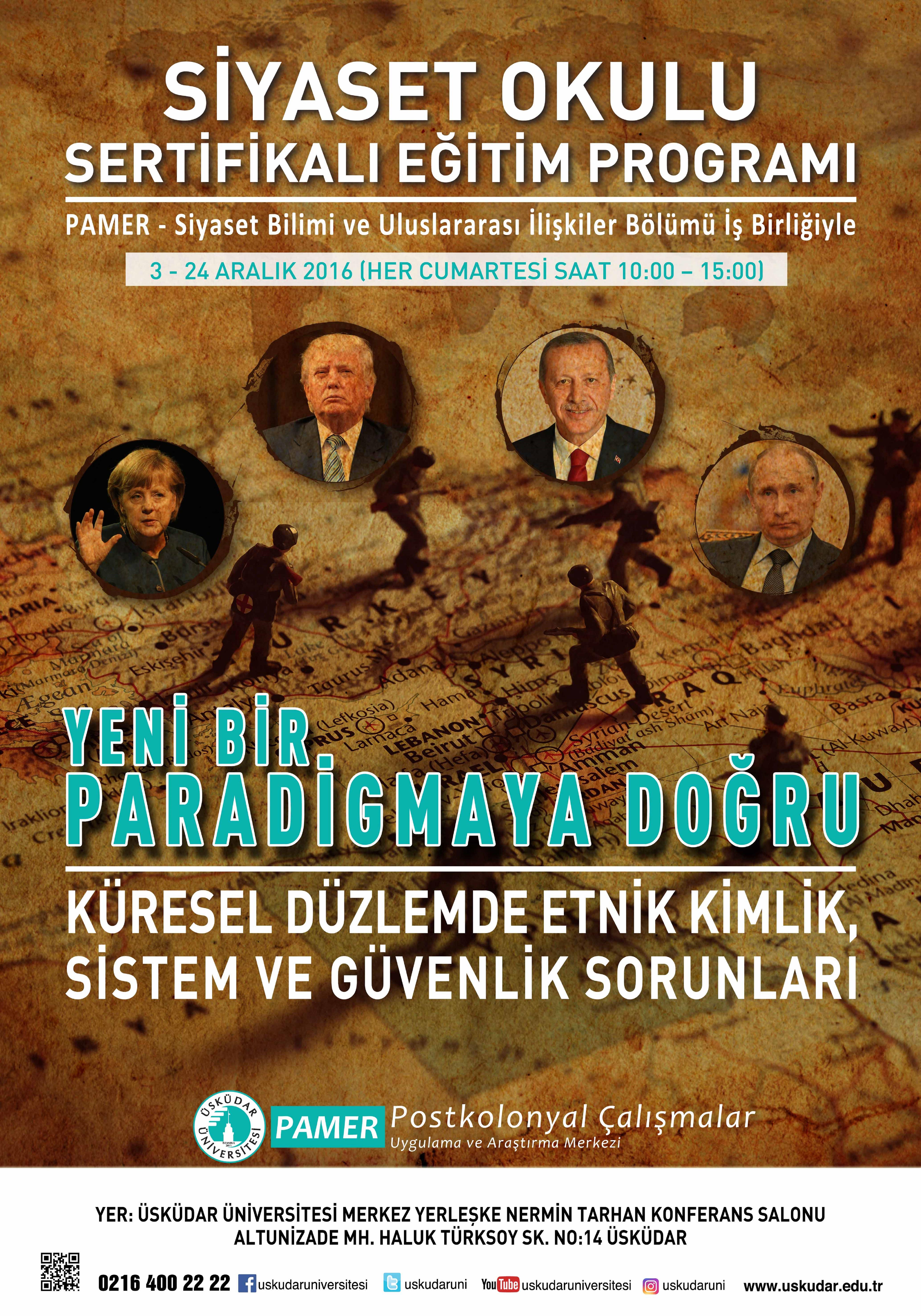 PAMER Siyaset Okulu Etkinliği 3-24 Aralık Her Cumartesi saat 10.00-15.00 arası Nermin Tarhan Salonu